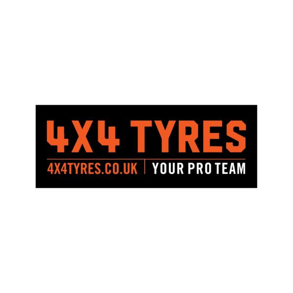 4x4 Tyres Bumper Sticker 150mm x 120mm Black Lettering