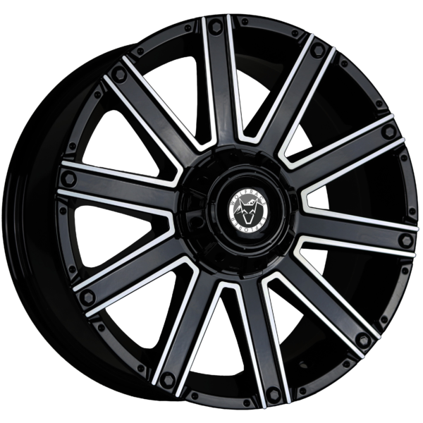 "20"" x 9"" Wolfrace  Kalahari Black & Polished ET10"