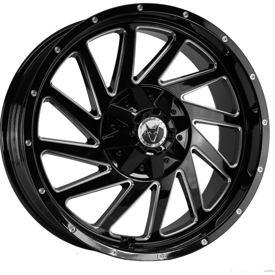 "20"" x 9"" Wolfrace  Wildtrek Black & Polished ET25"