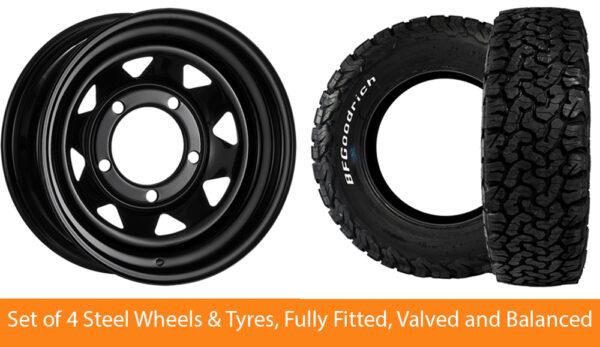 "16"" Land Rover Defender Steel Wheels & B F Goodrich All Terrain Tyres 265/75/16"
